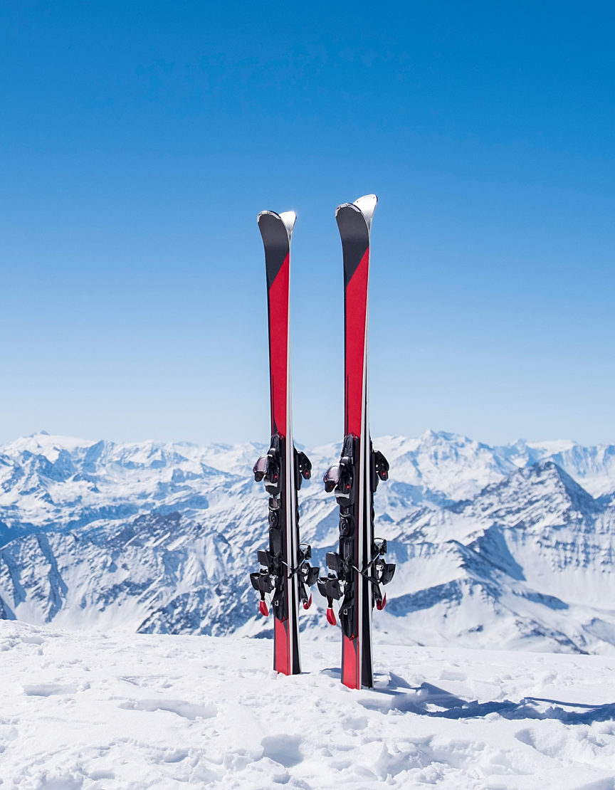 two skis in the snow