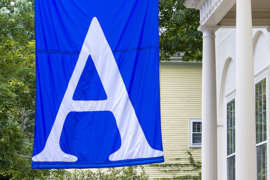 Andover flag hanging on campus