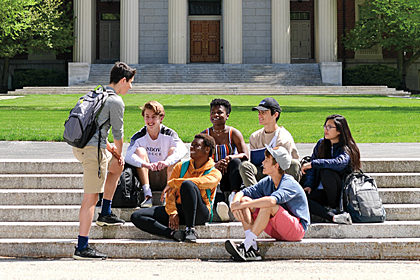 Students in front of Samuel Phillips Hall