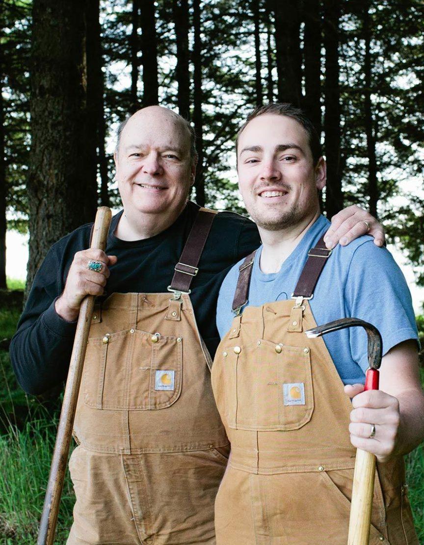 Two men looking for truffles