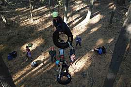 Students on a Ropes Course in the Gym