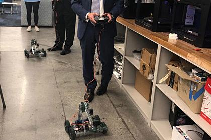 Trustees with Robotics Class